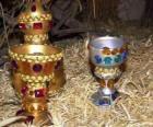Donativos dos Reis Magos, ouro, incenso e mirra para o Menino Jesus