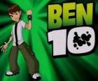 Ben 10 com o Omnitrix e o logotipo de Ben 10