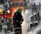 Várias fotos de bombeiros