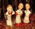Anjos cantando uma canção de Natal