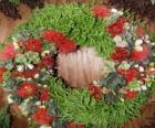 Guirlanda de Natal feita de elementos vegetais