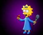A pequena Maggie preparado para cantar