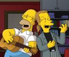 Homer Simpson cantando com um amigo