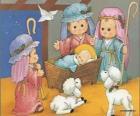 Jesus na manjedoura com José, Maria e um pastor com suas ovelhas