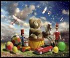 Um ursinho de pelúcia sentado num tambor, bolas e outros preciosos presentes de Natal