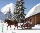 A família em um trenó puxado por um cavalo no Natal