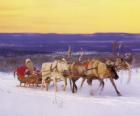 Natal de trenó puxado por renas e carregado com presentes e Papai Noel