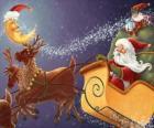 Trenó de Natal puxado por renas mágicas e carregado de presentes, Papai Noel e um elfo