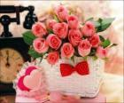 Cesta de rosas e corações