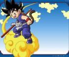 Goku montando sua nuvem Kinton que podem voar em alta velocidade