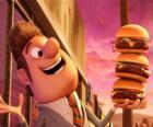 Prefeito feliz com três hambúrgueres na mão