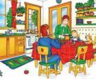 Caillou e sua família comer na cozinha