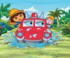 Dora the Explorer menina ao lado do macaco Botas, com um motor de fogo