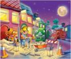 Bob e seus amigos na noite trabajano reparar uma rua da cidade