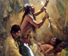Índios norte-americanos em um ritual tradicional, invocando os espíritos