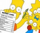 Bart Simpson com as notas da escola perante o olhar atento de suas irmãs