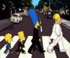 A família Simpson ao atravessar a rua muito elegante
