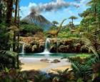Bela paisagem com dinossauros