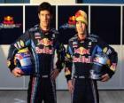 Sebastian Vettel e Mark Webber, pilotos da Red Bull Racing Scuderia