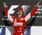 Fernando Alonso comemora vitória no GP do Bahrein (2010)