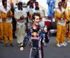 Mark Webber comemorou sua vitória no Circuito da Catalunha, Espanha Grand Prix (2010)