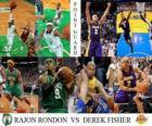 Final da NBA 2009-10, Armador, Rajon Rondon (Celtics) vs Derek Fisher (Lakers)