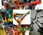 A vuvuzela, é uma espécie de trompete longos, utilizados pelos fãs para animar suas equipes, o recurso no Sul-Africano de futebol.