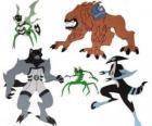 Grupo de cinco dos aliens do Omnitrix de Ben 10