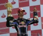 Mark Webber comemorou sua vitória em Silverstone, Grande Prêmio da Grã-Bretanha (2010)
