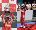 Fernando Alonso comemora vitória em Hockenheim, no GP da Alemanha (2010)