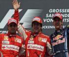 Fernando Alonso, Felipe Massa, Sebastian Vettel, Hockenheim, Grande Prêmio da Alemanha (2010) (1 º, 2 º e 3 º classificados)