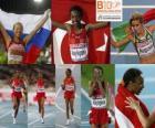 Elvan Abeylegesse campeão no 10000 m, Inga Abitova e Jessica Augusto (2 e 3) do Campeonato Europeu de Atletismo de Barcelona 2010
