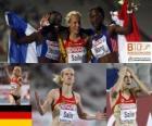 Verena Sailer campeão 100m, e Myriam Soumaré Mang Véronique (2 e 3) do Campeonato Europeu de Atletismo de Barcelona 2010