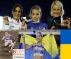 Olha Saladuha campeão do salto triplo, Simona La Mantia, Svetlana Bolshakov (2 e 3) do Campeonato Europeu de Atletismo de Barcelona 2010