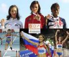 Natalia Antiuj campeão 400m com barreiras, Vania Stambolova e Perri Shakes-Drayton (2 e 3) do Campeonato Europeu de Atletismo de Barcelona 2010