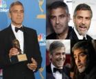 O ator George Clooney filme e televisão, ganhando um Oscar e ao Globo de Ouro