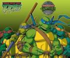 As quatro Tartarugas Ninja: Leonardo, Michelangelo, Donatello e Rafael. Taratugas Ninja ou TMNT