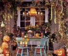 varanda decorada para o Halloween