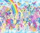 pôneis muitos com arco-íris. My Little Pony