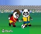 pandas Panfu jogar futebol