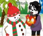 Boneco de Neve sem nariz pompom como ele quer comer a surpresa de Penny