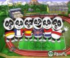 Várias T-shirts panda Panfu de algumas equipas nacionais