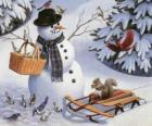 Boneco de neve com um esquilo e aves diversas em torno de
