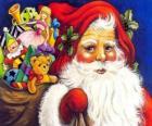 Papai Noel com um grande saco cheio de brinquedos para dar às crianças no Natal