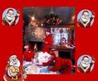 Papai Noel ou Pai Natal na leitura das cartas das crianças que recebeu para o Natal