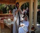 Maria, José eo menino Jesus na manjedoura a vida
