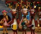 Grupo de renas de Natal comemorar o Natal