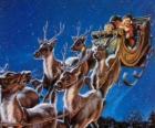 As renas mágicas puxando o trenó do Papai Noel na noite de Natal