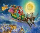 Papai Noel de trenó voando sobre as casas durante a noite de Natal