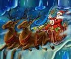 O trenó cheio de presentes que voam com o Papai Noel e as renas mágicas